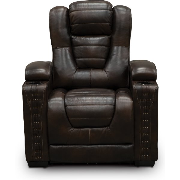 Mekong Brown Leather Match Home Theater Power Recliner   Big Chief
