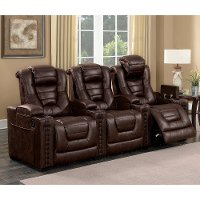 Brown Leather-Match 3 Piece Power Home Theater Seating - Big-Chief