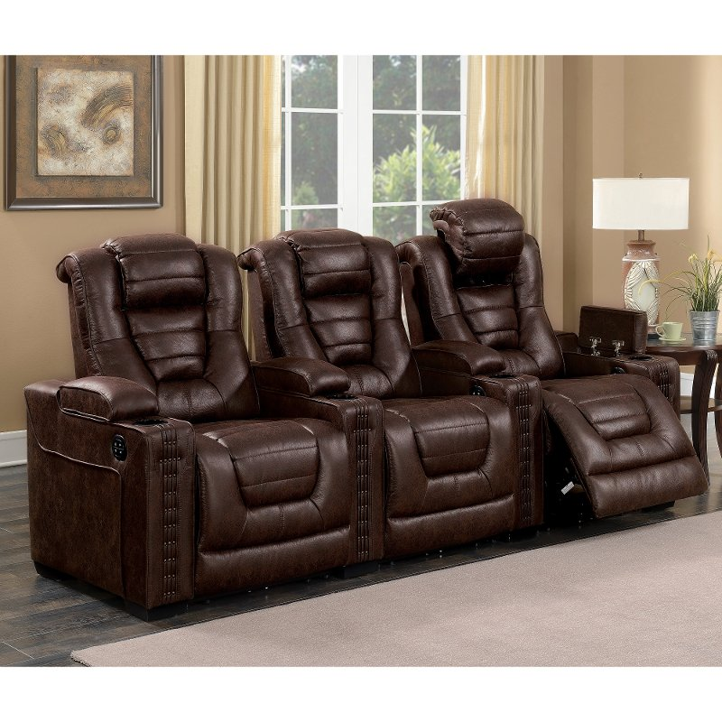 theater living room furniture brown leather match 3 power home theater seating 14495