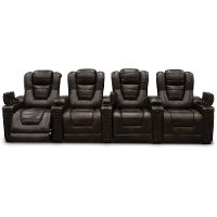 Brown Leather-Match 4 Piece Power Home Theater Seating - Big-Chief