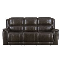Gray Leather-Match Power Reclining Sofa - Hearst
