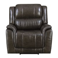 Gray Leather-Match Power Recliner - Hearst