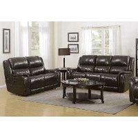 Gray Leather-Match Power Reclining Sofa and Loveseat - Hearst