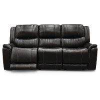 Chocolate Brown Leather-Match Power Reclining Sofa - Hearst