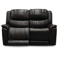 Chocolate Brown Leather-Match Power Reclining Loveseat - Hearst