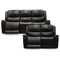 Brown Leather-Match Power Reclining Living Room Set - Hearst