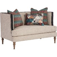 Belgian Beige Settee With Throw Pillows - Joelle