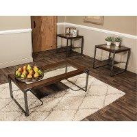 Glass Top 3 Piece Coffee Table Set - Hawk