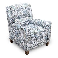 Seaglass Blue & Gray Push Back Recliner - Percy