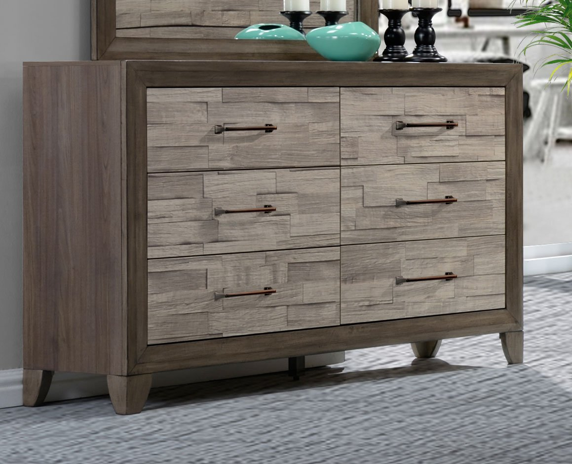 Contemporary Two Tone Walnut 6 Piece California King Bedroom Set Jaren Rc Willey Furniture Store