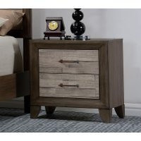 Contemporary Two-Tone Walnut Nightstand - Jaren
