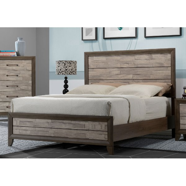 Clearance Contemporary Two Tone Walnut Queen Bed   Jaren