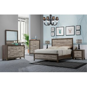 Contemporary Two Tone Walnut 6 Piece Queen Bedroom Set   Jaren | RC Willey  Furniture Store