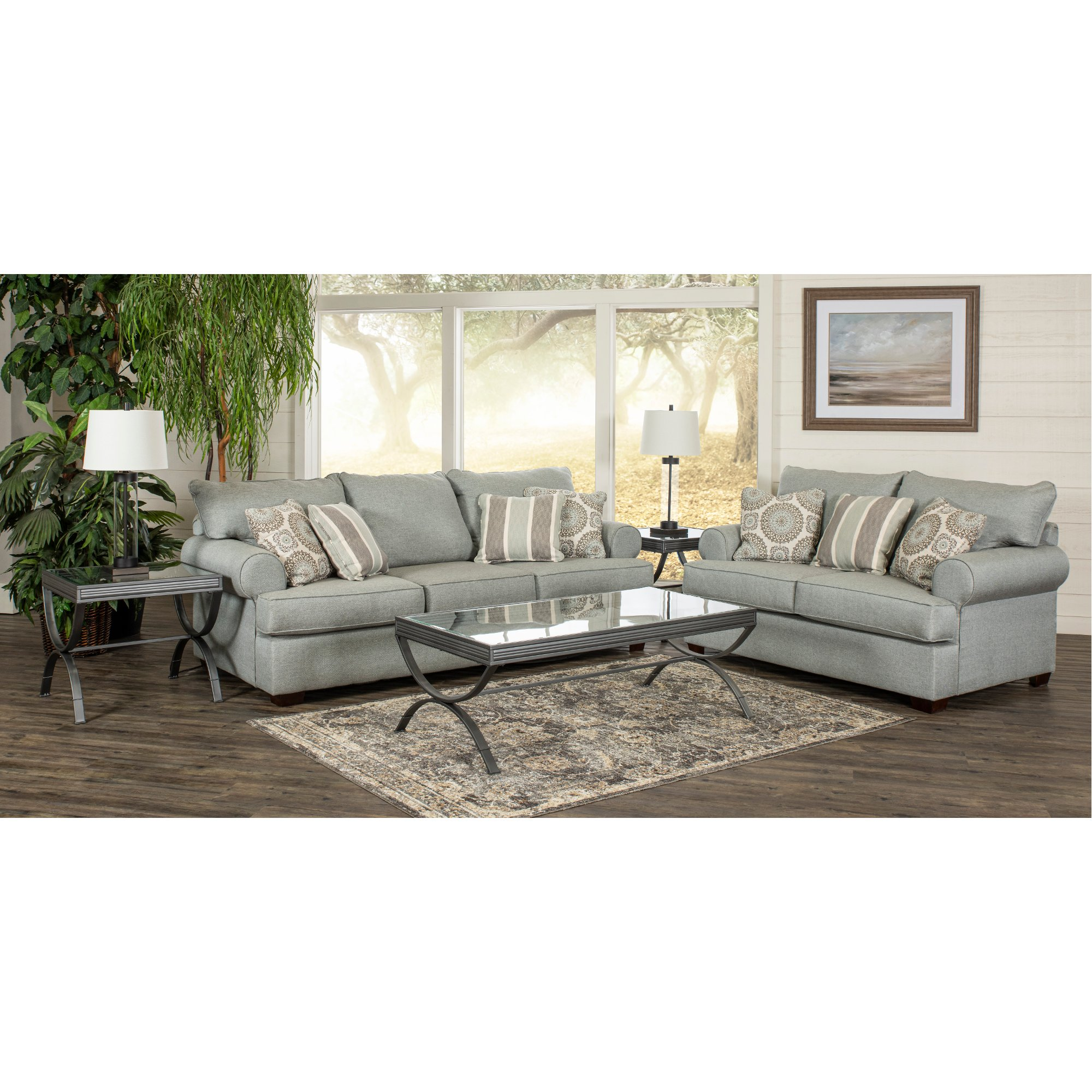 Casual Classic Mist Green 7 Piece Living Room Set - Alison | RC ...