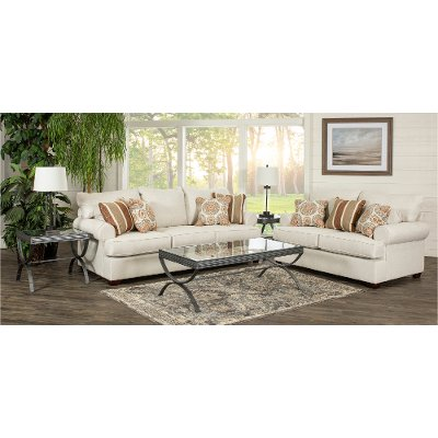 Casual Classic Linen 7 Piece Living Room Set - Alison | RC Willey ...