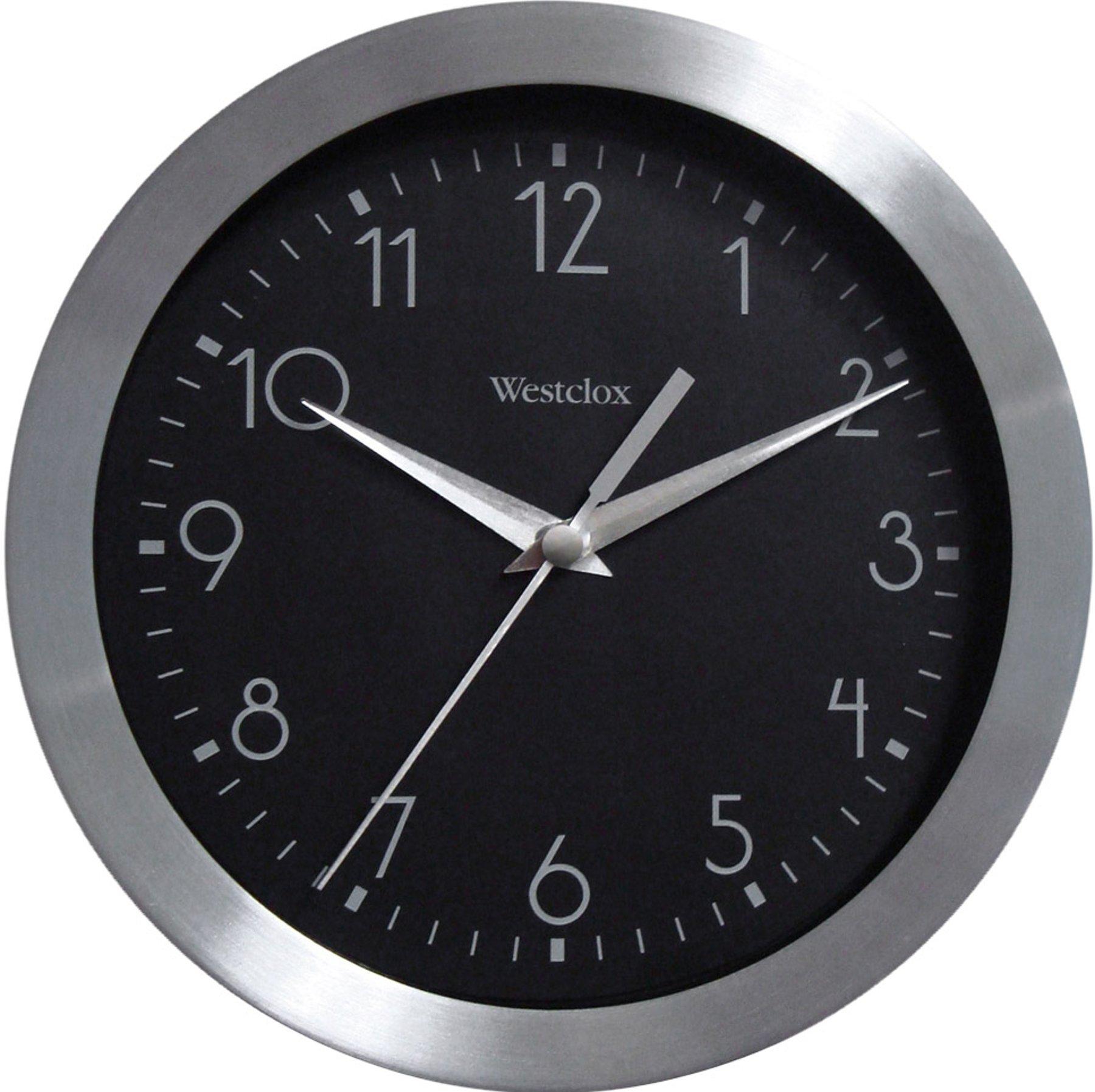 Westclox 36001A Metallic Silver 9 Inch Round Wall Clock