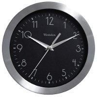 Metallic Silver 9 Inch Round Wall Clock with Glass Lens