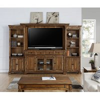 Rustic Brown 4 Piece Antique Entertainment Center - Barclay