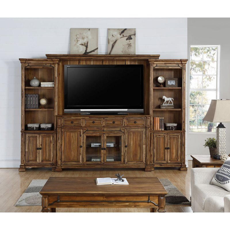 Rustic Brown 4 Piece Antique Entertainment Center Barclay
