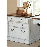 Cherry Brown and White 3 Drawer Lateral File Cabinet - Durham