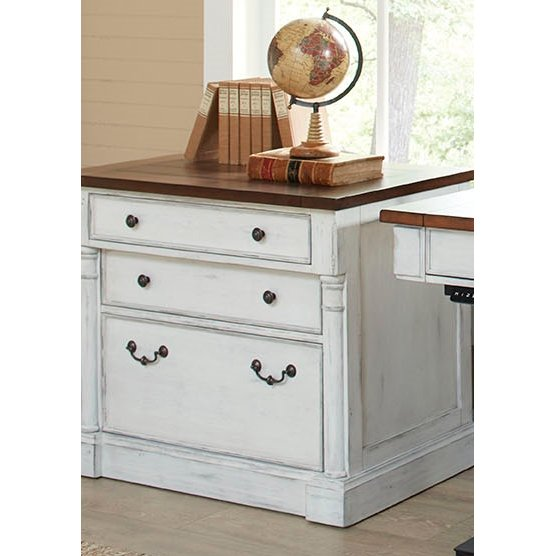 ... Cherry Brown And White 3 Drawer Lateral File Cabinet   Durham