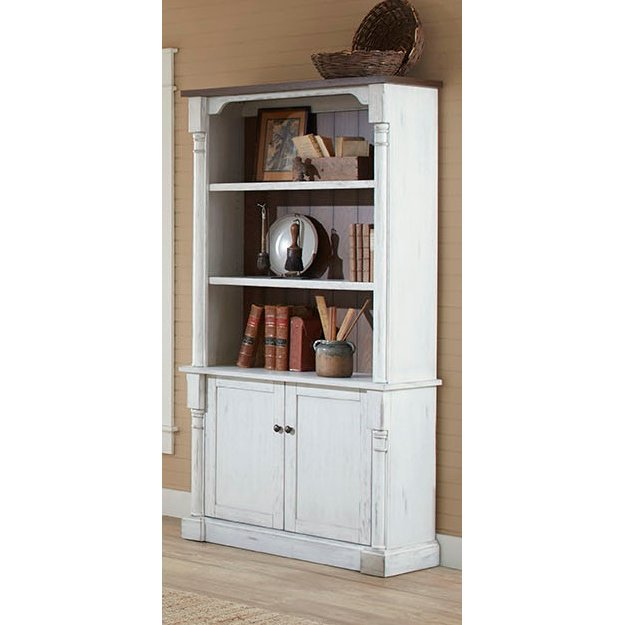 Cherry Brown And White 2 Door Bookcase