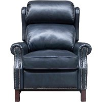 Shoreham Blue Leather Power Recliner - Thornfield
