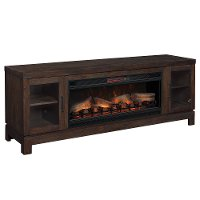 76 Inch Antique Coffee Brown TV Stand and Fireplace - Berkeley