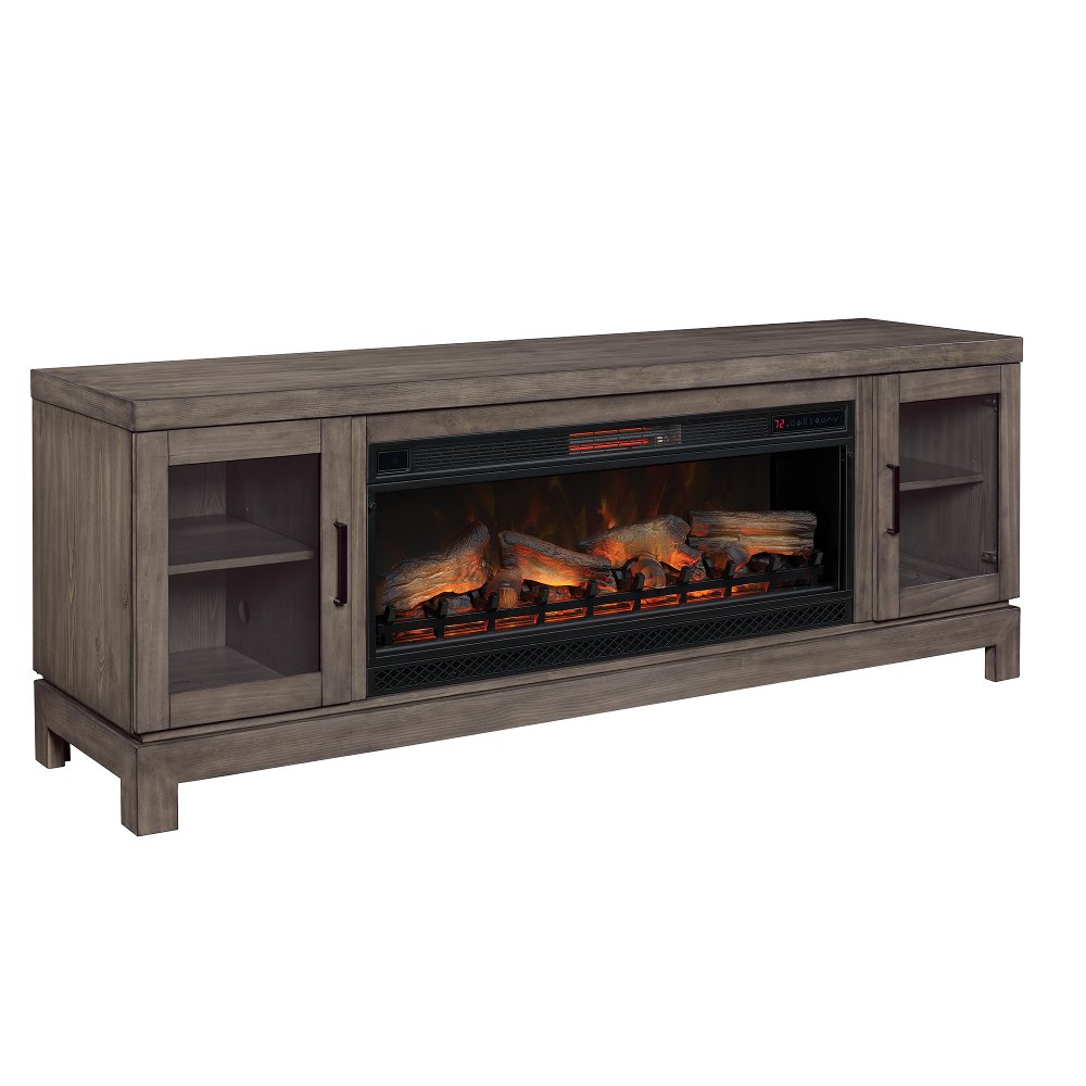 76 inch charcoal brown tv stand and fireplace berkeley rc