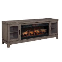 76 Inch Charcoal Brown TV Stand and Fireplace - Berkeley