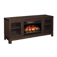 63 Inch Antique Coffee Brown TV Stand and Fireplace - Berkeley