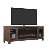 63 Inch Charcoal Brown TV Stand with Fireplace - Berkely