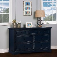Distressed Navy Double Dresser - Parker