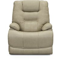 Glacier Cream Leather-Match Lay-Flat Power Recliner - Bonanza