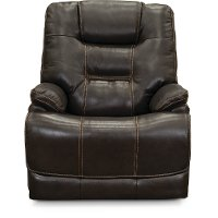 Walnut Brown Leather-Match Lay-Flat Power Recliner - Bonanza