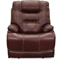 Ruby Red Leather-Match Power Recliner - Bonanza