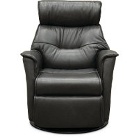 Charcoal Gray Leather Compact Swivel Glider Power Recliner - Captain
