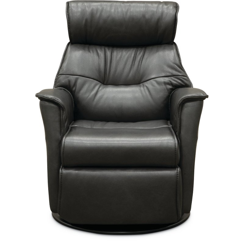 Charcoal Gray Leather Compact Swivel Glider Recliner Captain Rc Willey Furniture