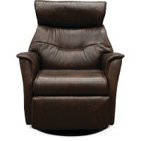 Truffle Brown Large Leather Swivel Glider Power Recliner - Captain