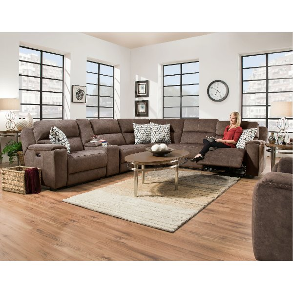 ... Coco Brown 6 Piece Power Reclining Sectional Sofa   Imprint