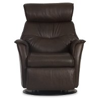 Truffle Brown Standard Leather Swivel Glider Power Recliner - Captain