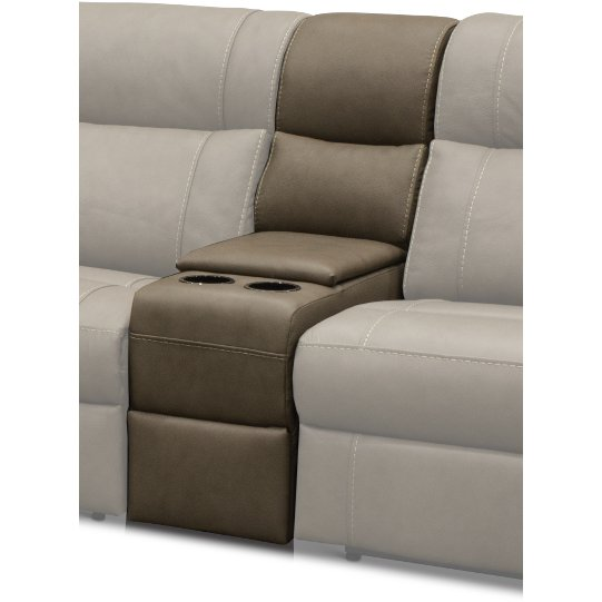 Taupe Leather Match 6 Piece Power Sectional Sofa Robert