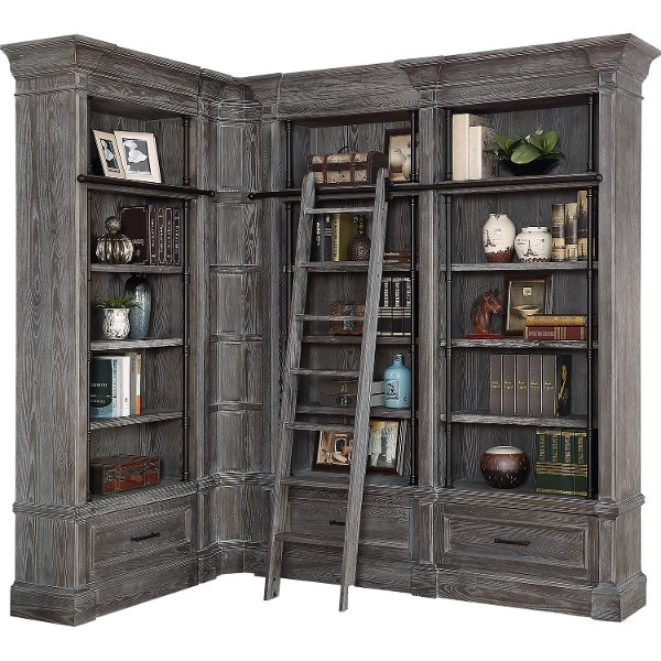 3 Piece Cherry Brown Bookcase Wall