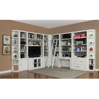 13 Piece White Home Office and Library Wall - Catalina