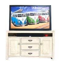 66 Inch Transitional Antique White TV Stand - Phoenix