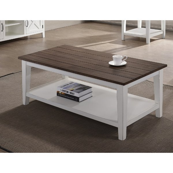 ... Farmhouse White And Brown Coffee Table