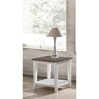 Farmhouse White and Brown End Table