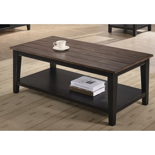 Farmhouse Black and Brown Coffee Table View