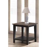Farmhouse Black and Brown End Table