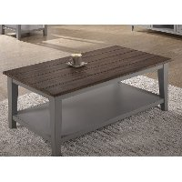 Farmhouse Gray and Brown Coffee Table
